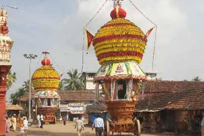 Chariots in front of krishna matha devasthana temple krishna mutt